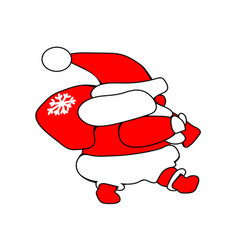 santa claus goes new year christmas icon walking vector image