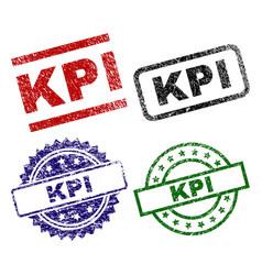 Scratched textured kpi stamp seals vector