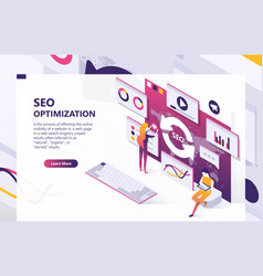 Seo optimization isometric concept banner vector