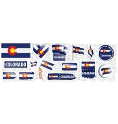 set flags american state vector image