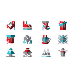 set icon winter template vector image