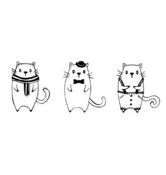 Set of three funny sketch cats vector