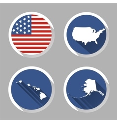 set usa country shape with flag icons flat vector image