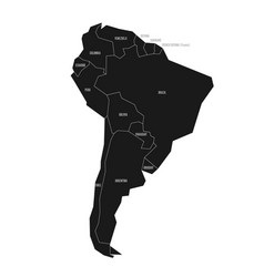 simplified schematic map of south america vector image