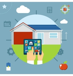 Smart house concept controlled from a tablet vector image