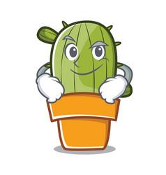 Smirking cute cactus character cartoon vector