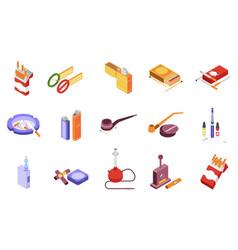 Smoking isometric icons set vector