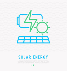 solar energy thin line icon vector image