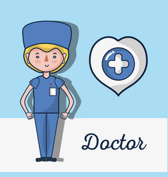 Specialist doctor with heart and cross inside vector
