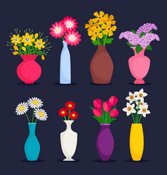 spring and summer bouquets in vases vector image