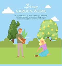 Spring garden work young couple planting vector