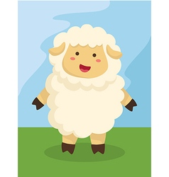 Standing Cute Sheep Cartoon vector image