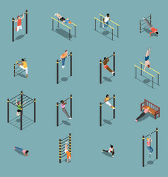 street workout isometric icons vector image