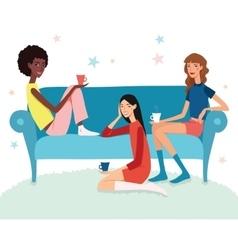 Teenage girls tea party vector