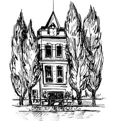 Urban sketch house in park vector