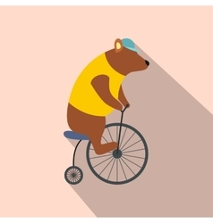 vintage bear on bike icon vector image
