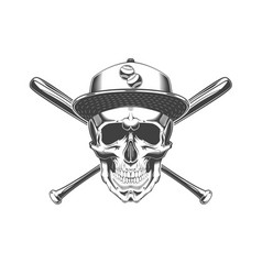 vintage monochrome skull with baseball cap and vector image