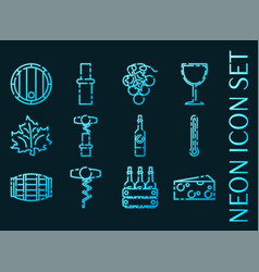 wine set icons blue glowing neon style vector image