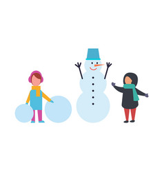 winter holidays children playing outdoor vector image