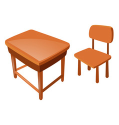 Wooden chair and table on white vector