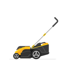 Yellow lawn mower vector