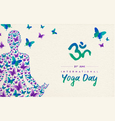 Yoga day card of girl in lotus pose for meditation vector