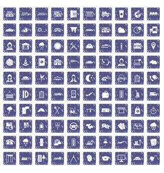 100 dispatcher icons set grunge sapphire vector