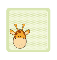colorful greeting card with picture giraffe animal vector image