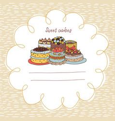33 card with cakes on a background with hand-drawn vector image vector image