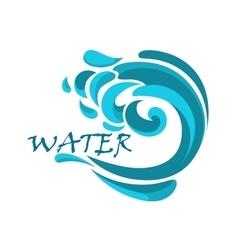 Blue ocean wave with water swirls vector image vector image