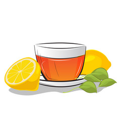 cup of tea with lemon and mint leafs vector image