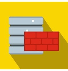 Database and red brick wall icon flat style vector image