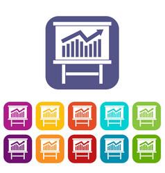 growing chart presentation icons set vector image vector image