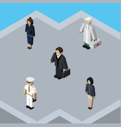 Isometric person set of medic girl investor and vector