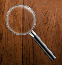Magnifing Glass With Wooden Background vector image vector image