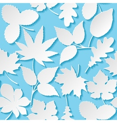 Seamless background with paper leaves vector image