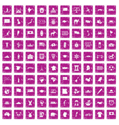 100 geography icons set grunge pink vector