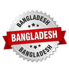 Bangladesh round silver badge with red ribbon vector image vector image