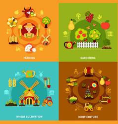 farming square compositions set vector image
