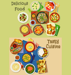 lunch and breakfast menu icon set design vector image