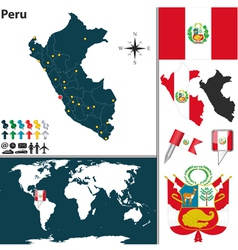 Peru map world vector image vector image