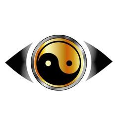 Vision eye logo with harmony symbol vector image vector image