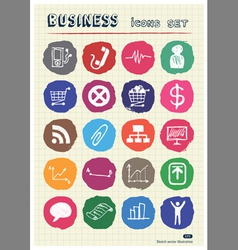 Business and media web icons set drawn by chalk vector image vector image