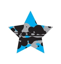 Grunge black and blue star vector