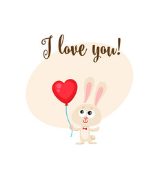 i love you card with bunny holding heart shaped vector image