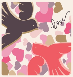 kissing pigeons valentine poster vector image vector image