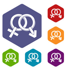 male and female signs icons set hexagon vector image