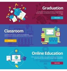 Set of flat design concepts for graduation vector