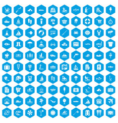 100 water recreation icons set blue vector image