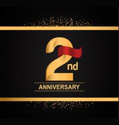 2 years anniversary logotype with premium gold vector